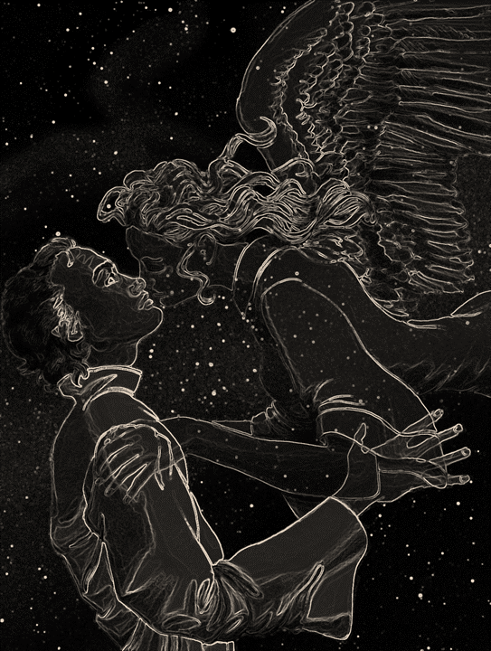 Yahweh and Gwendolyn in the stars- gray